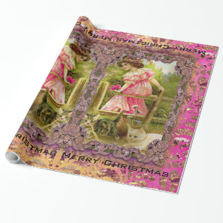 Kittens and Ribbons Victorian Wrapping Paper