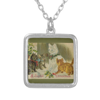Kittens and Snowman Cat Silver Plated Necklace