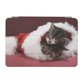 Kittens asleep together in Christmas hat iPad Mini Cover