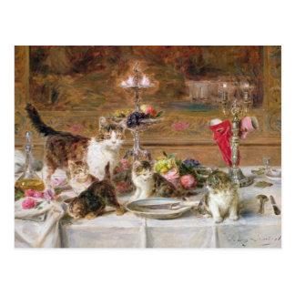 Kittens at a banquet, 19th century postcard