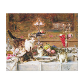 Kittens at a banquet, 19th century stretched canvas print