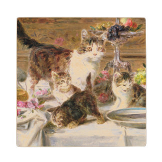 Kittens at a banquet, 19th century wood coaster