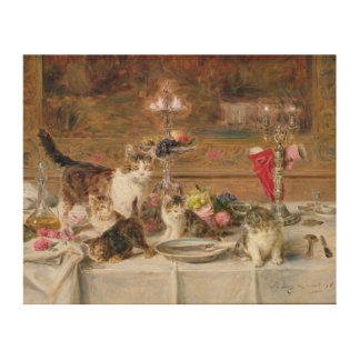 Kittens at a banquet, 19th century wood wall decor