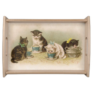 Kittens at Tea Serving Tray