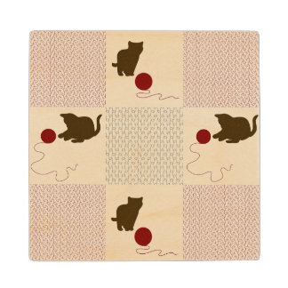 Kittens Backgrounds Wood Coaster