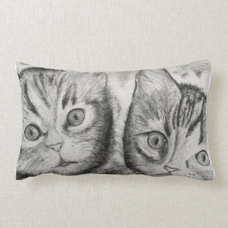 Kittens Duo for Cats Lovers, Drawing byCraftiesPot Lumbar Cushion