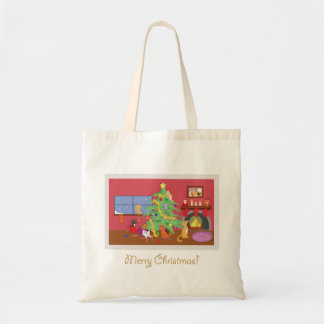Kittens' First Christmas Canvas Bags