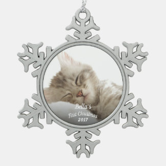 Kitten's first Christmas with name + year Snowflake Pewter Christmas Ornament
