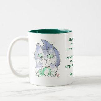 Kitten's Frog Adventure Two-Tone Mug