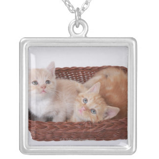 Kittens in basket silver plated necklace