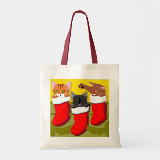 Kittens In Christmas Stockings Budget Tote Bag