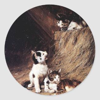 Kittens in Hay painting Round Sticker