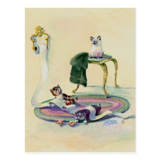KITTENS in the BATHROOM by SHARON SHARPE Postcard
