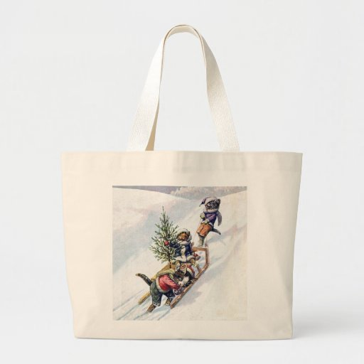 Kittens in the Snow Getting a Christmas Tree Tote Bags