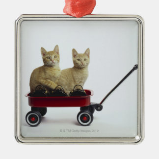 Kittens in wagon christmas ornament