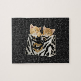 Kittens in Zebra Handbag Black Glitter Puzzle