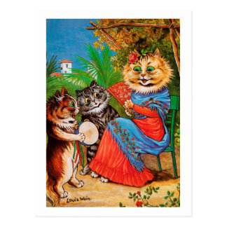 Kittens & Lady, Louis Wain Postcard