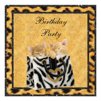 Kittens Leopard Print Fur Gold Birthday Party Custom Invitations