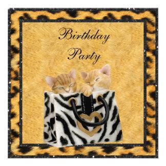 Kittens & Leopard Print Fur Gold Birthday Party Custom Invitations