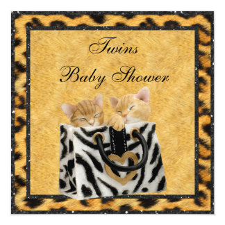 Kittens Leopard Print Neutral Twins Baby Shower Card