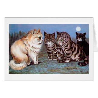 Kittens meeting in the Moonlight, Louis Wain Card