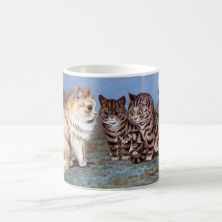 Kittens meeting in the Moonlight, Louis Wain Coffee Mug