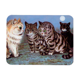 Kittens meeting in the Moonlight, Louis Wain Magnet