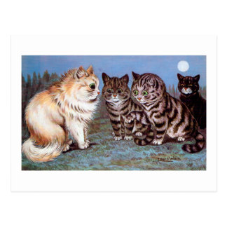 Kittens meeting in the Moonlight, Louis Wain Postcard