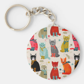 Kittens Mittens Cats Ugly Sweater / Andrea Lauren Basic Round Button Key Ring