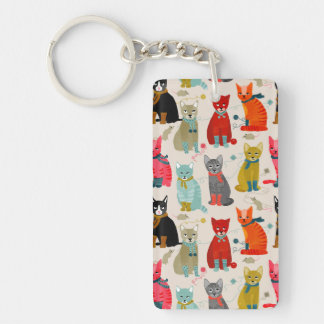 Kittens Mittens Cats Ugly Sweater / Andrea Lauren Double-Sided Rectangular Acrylic Key Ring