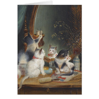 Kittens Play with a Mirror Greeting Card
