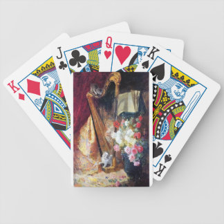 Kittens Playing Harp Music painting Bicycle Playing Cards