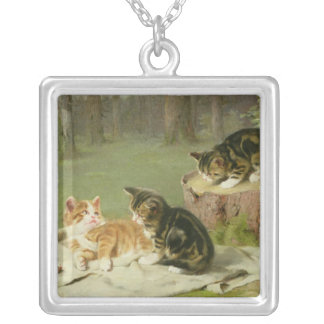 Kittens Playing Silver Plated Necklace