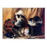 Kittens playing with basket antique painting postcard