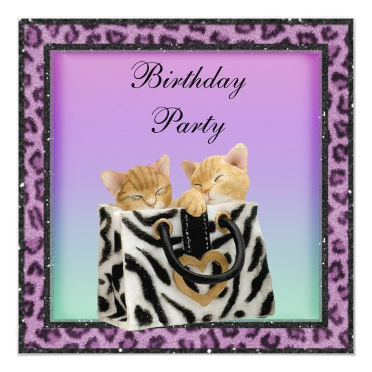 Kittens & Purple Leopard Print Fur Birthday Party Card
