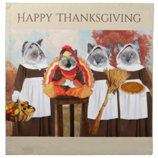 Kittens Thanksgiving Cloth Napkins