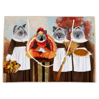 Kittens Thanksgiving Large Gift Bag