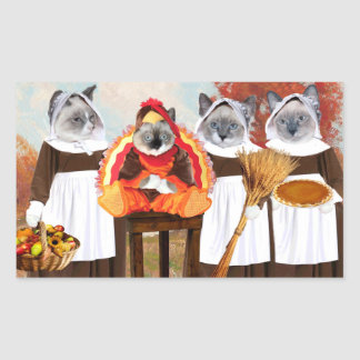 Kittens Thanksgiving Rectangle Stickers