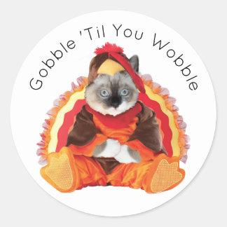 Kittens Thanksgiving Round Stickers