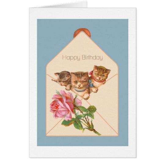 Kittens Vintage Birthday Card