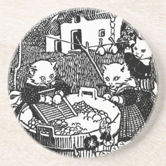 Kittens Washing Mittens Nursery Rhyme Coaster