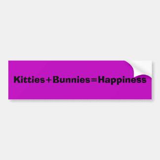 Kitties+Bunnies=Happiness Bumper Sticker