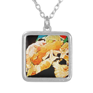Kitties Painting Square Pendant Necklace