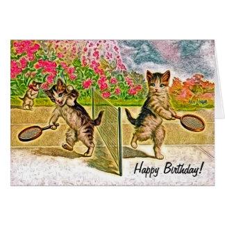 Kitties Playing Tennis Birthday Greeting Card