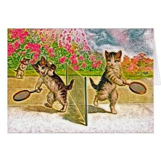 Kitties Playing Tennis Card