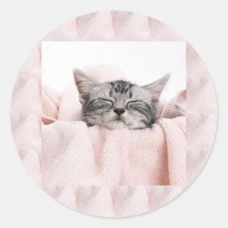 Kitty and blanket round sticker