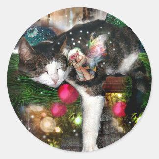 Kitty and Faery HolidaySticker Round Sticker