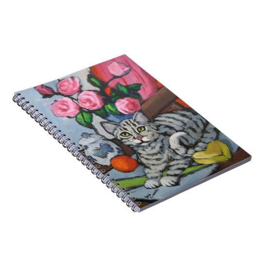 Kitty and Pink Roses Notebook