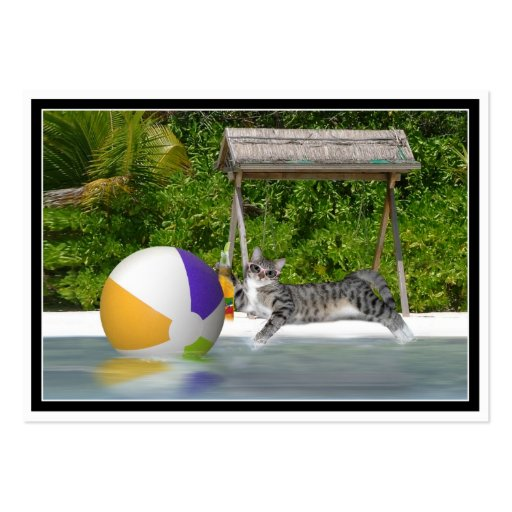 Kitty at the Lake Side Business Card Template