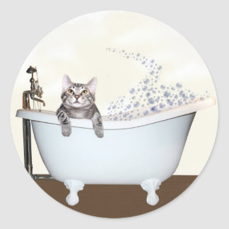 Kitty bath time classic round sticker